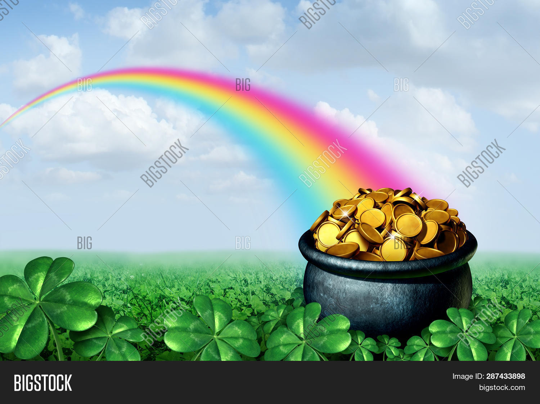 Pot Gold End Rainbow Image & Photo (Free Trial) | Bigstock