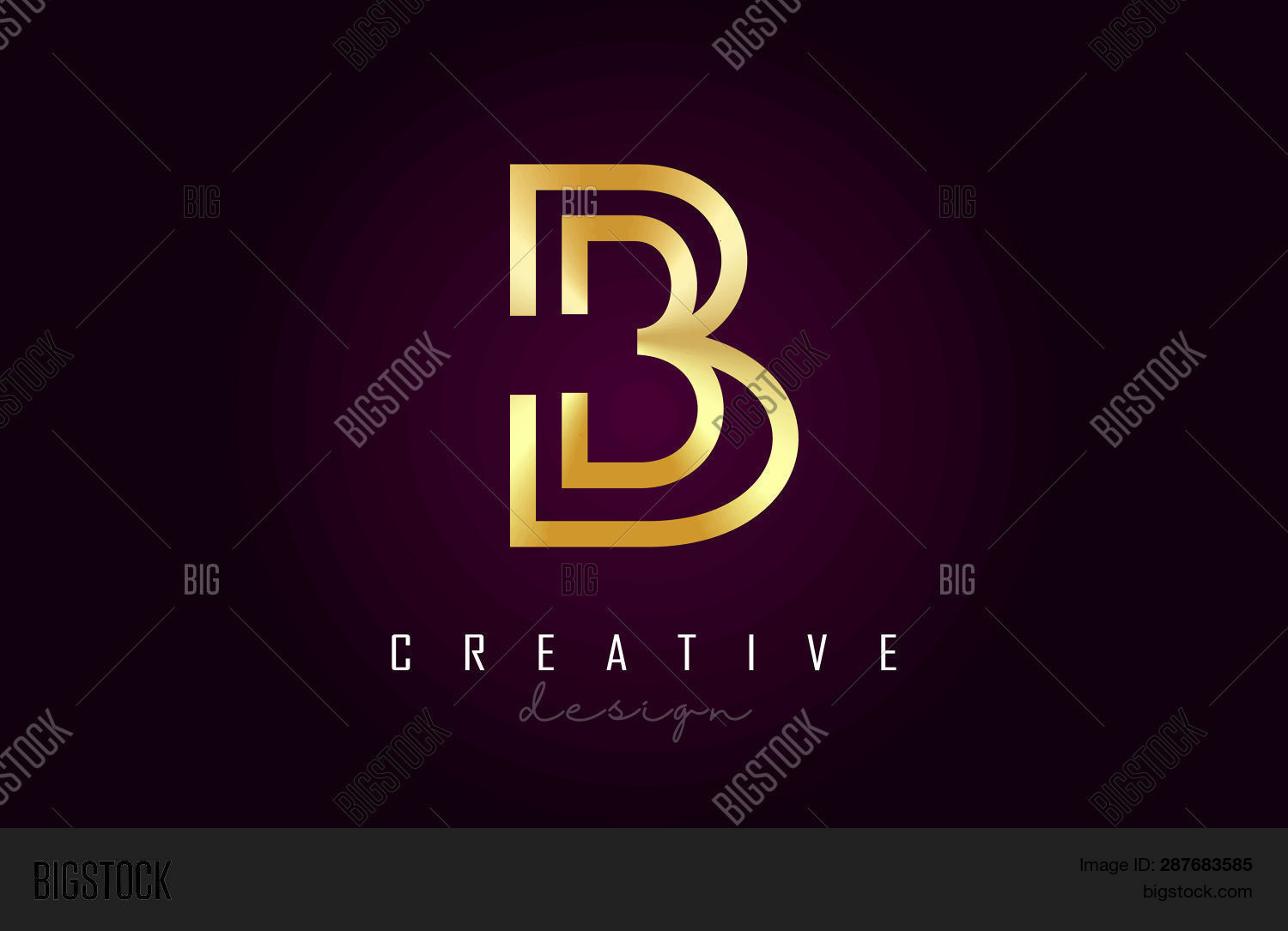 B Golden Letter Logo Vector Photo Free Trial Bigstock