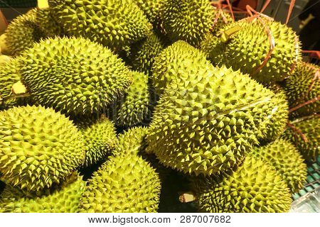 Fresh Durian Accumulation Of In The Supermarket