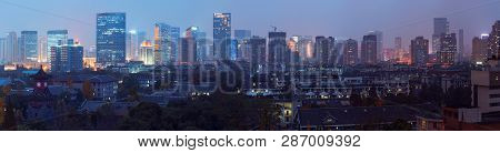Chengdu, Sichuan Province, China - Dec 9, 2015: Chengdu Skyline Panorama Aerial View With Huaxi Sich