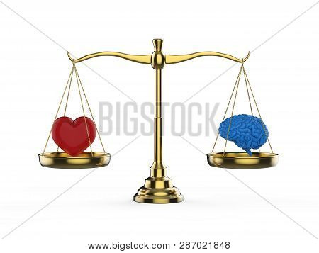 Logic and emotion balance concept with 3d rendering brain and heart on balance scale poster