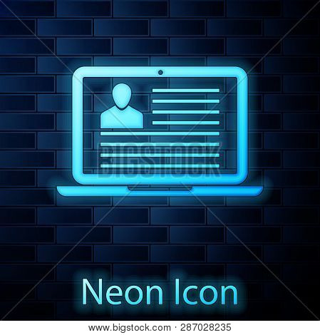 Glowing Neon Laptop With Resume Icon Isolated On Brick Wall Background. Cv Application. Searching Pr