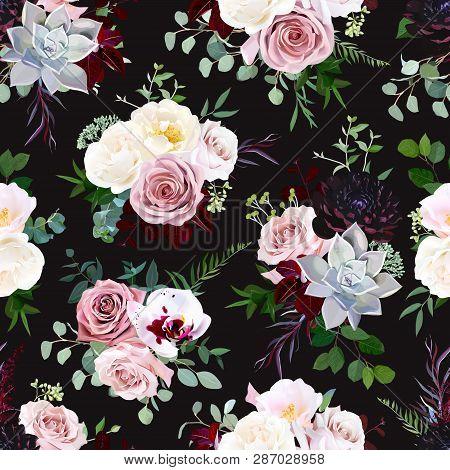 Dark Black Vector Floral Pattern. Dusty Pink Rose, Exotic Orchid, Burgundy Dahlia, Camellia, Echever