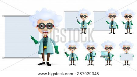 Genius Scientist Vector Character Set. Old Inventor Or Professor Teaching Or Showing Formula And Lab