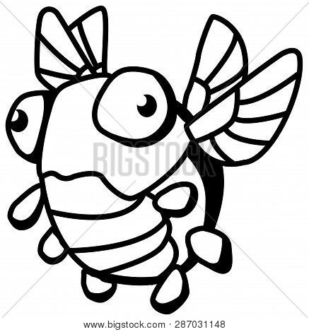 Odd Bug Small Round Cartoon Line Drawing, Vector, Horizontal, Over White