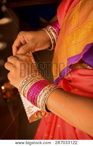 Bridal Makeup-a Close Up Or Macro Photograph Taken Of A Typical Indian Bride As