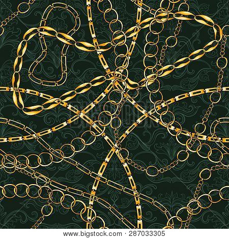 Golden Chains Vintage Jewelry Seamless Vector Pattern. Gold Accessory Backdrop For Fashion Art Desig