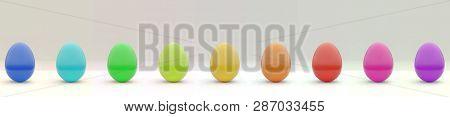 Happy Easter Eggs Multi Color, 3d Rendering
