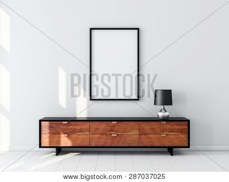 Black Poster Frame Mockup hanging on the wall, modern bureau with Table lamp. 3d rendering poster
