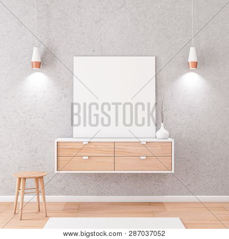 Square white Canvas Mockup standing on bureau, concrete wall, 3d rendering poster
