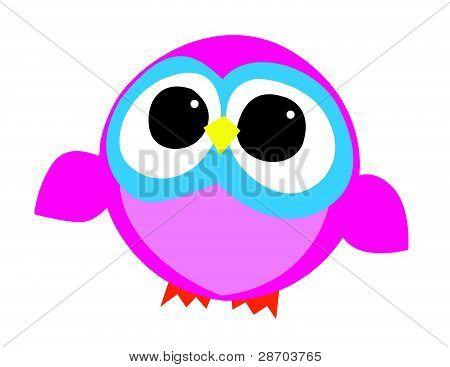Pink and Blue Owl Illustration