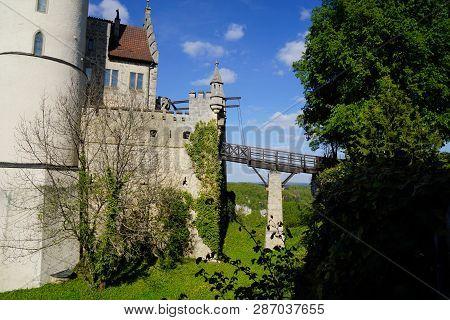 Bridge To Castle Lichtenstein Blue Sky And Tree