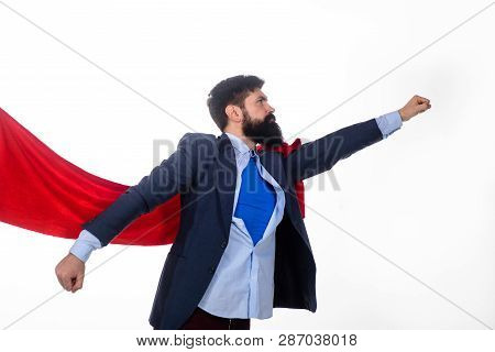 Business. Enthusiasm. Super Businessmen. Superman Flying. Business Concept. Superhero In Red Cape An
