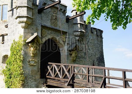 Drawbridge Entrance Of Ancient Castle