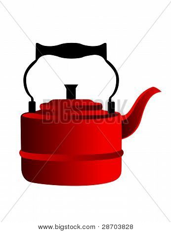 Red Kettle Vector Illustration