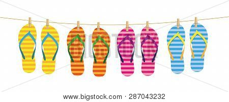 Striped Flip Flops Hang On A Line Attached With Clothespins Vector Illustration Eps10