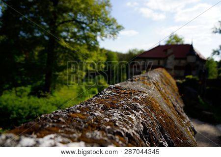 Close Up Of Wall Lichtenstein Castle Blurry Background
