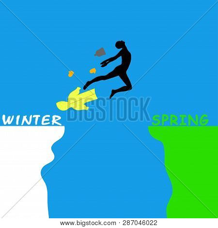 Man Jumping Over A Precipice Between Winter And Spring. Color