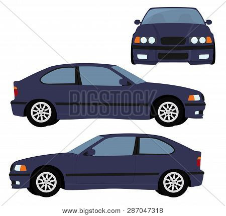 Car Vector Template On White Background. Hatchback Car Isolated. Vehicle Branding Mockup. Side, Fron