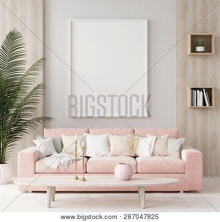 Mock Up Poster In Warm Home Interior Background, Springtime, 3d Illustration