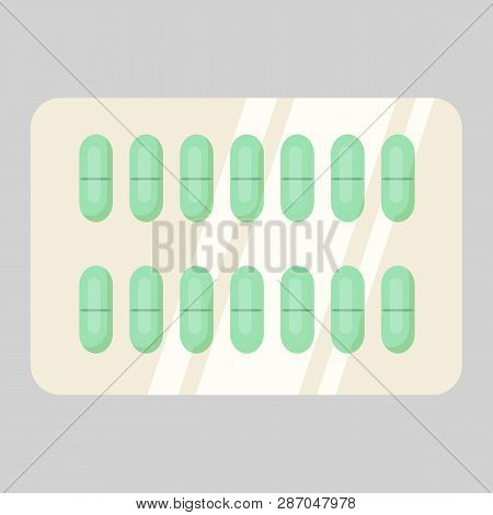 Blister of green pills. Drugs, painkillers, remedy. Treatment concept. Vector illustration can be used for topics like cure, therapy, medication, pharmacy poster