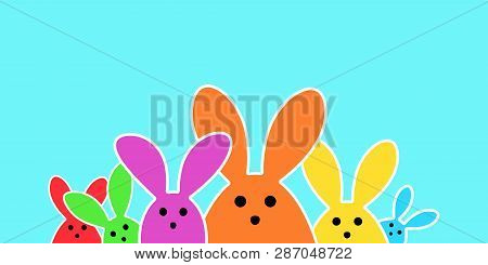 Colorful Easter Bunny As Illustration On Blue Background. Easter Background For The Colorful Easter