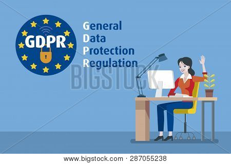 European Woman Working With Computer And Gdpr General Data Protection Regulation. European Union Fla