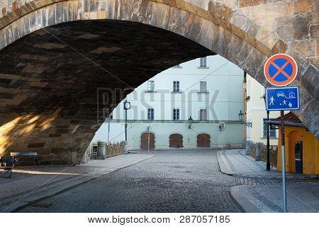 Street Under The Charles Bridge In Prague