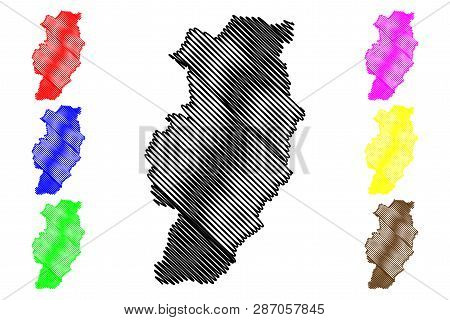 Nan Province (kingdom Of Thailand, Siam, Provinces Of Thailand) Map Vector Illustration, Scribble Sk