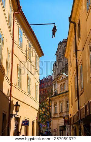 Prague, Czech Republic - July, 2018: Sculpture Of The Psychoanalyst Sigmund Freud Hanging By A Hand