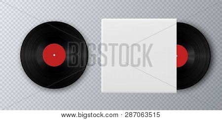 Realistic Vinyl Record With Cover Mockup. Gramophone Vinyl Record With Label. Black Vinyl Record Dis