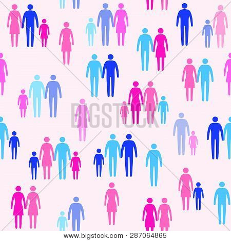 Different Family Types, Sexual Orientation And Society, Vector Seamless Pattern