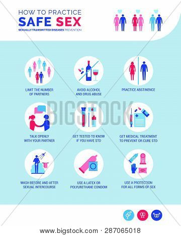 How To Practice Safe Sex And Prevent Std: Sexual Education, Hygiene And Healthcare Infographic
