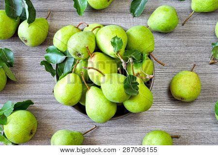 Freshly Harvested Pears. Juicy Fragrant Pears. A Rich Crop Of Pears.