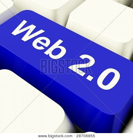 Web2 Computer Key In Blue Showing Social Media