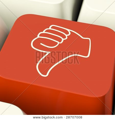 Thumbs Down Icon Computer Key Showing Dislike Failure And False