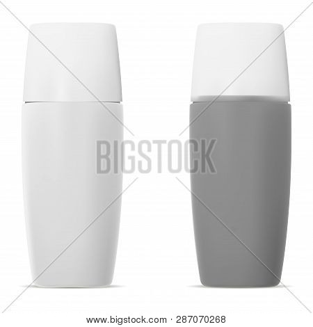 Sun Protection Cosmetic Bottle. 3d Realistic Set. Plastic Container For Uva Skin Protection Moisturi