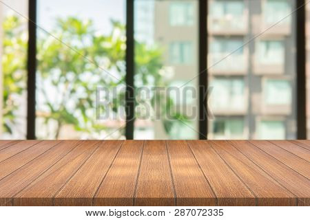 Empty Wood Table On Blurred Background Copy Space For Montage Your Product Or Design , Blank Brown B