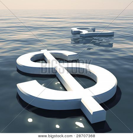 Dollar Floating And Pound Going Away Showing Money Exchange Or F