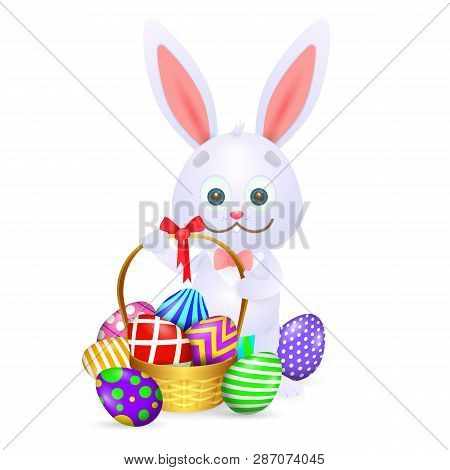 Cartoon Easter Rabbit. Cute Rabbit With Full Basket Of Colorful Easter Eggs. Can Be Used For Topics