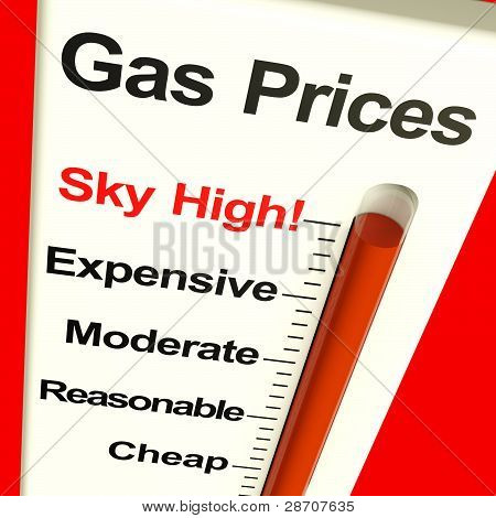 Gas Prices Sky High Monitor Showing Soaring Fuel Expenses
