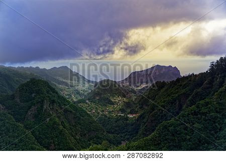 Aerial View From Balcoes Viewpoint At Green Hills And Mountains In Faial County. Portuguese Island O