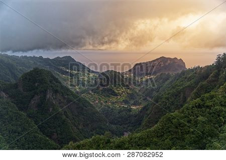 Aerial View From Balcoes At Green Hills And Mountains In Faial County. Portuguese Island Of Madeira