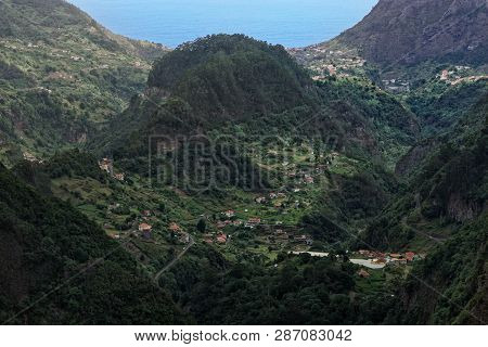 Aerial View At Faial County On Portuguese Island Of Madeira. View From Balcoes Viewpoint In Ribeiro