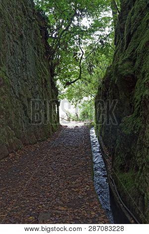 Steep Rocky Walls Beside Hiking Trails Along Levada Dos Balcoes In Ribeiro Frio. Portuguese Island O