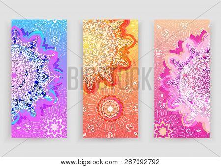 Round Gradient Mandala On Orange, Pink, Violet Background. Vector Boho Mandala In Violet, Orange And