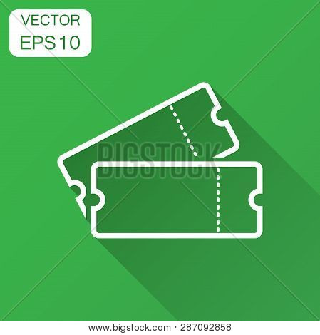 Cinema Ticket Icon In Flat Style. Admit One Coupon Entrance Vector Illustration With Long Shadow. Ti