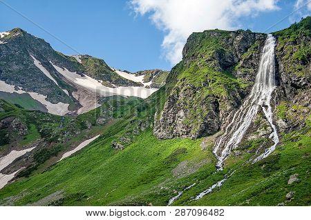 Mountain Waterfall. Fast Mountain River. Headwaters Mountain River. Morning Fog In The Mountains. Mo