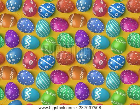 Many Decorated Easter Eggs 2019 As Background. Seamless Pattern For Advertising, Greeting Cards And