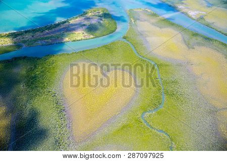 Heart Of Voh, Aerial View, Formation Of Mangroves Vegetation Resembles A Heart Seen From Above, New